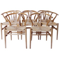 Set of Eight Y-Chairs, Model CH24 by Hans J. Wegner and Carl Hansen & Son