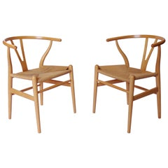 Set of Two Y-chairs, model CH24, in Beech by Hans J. Wegner and Carl Hansen