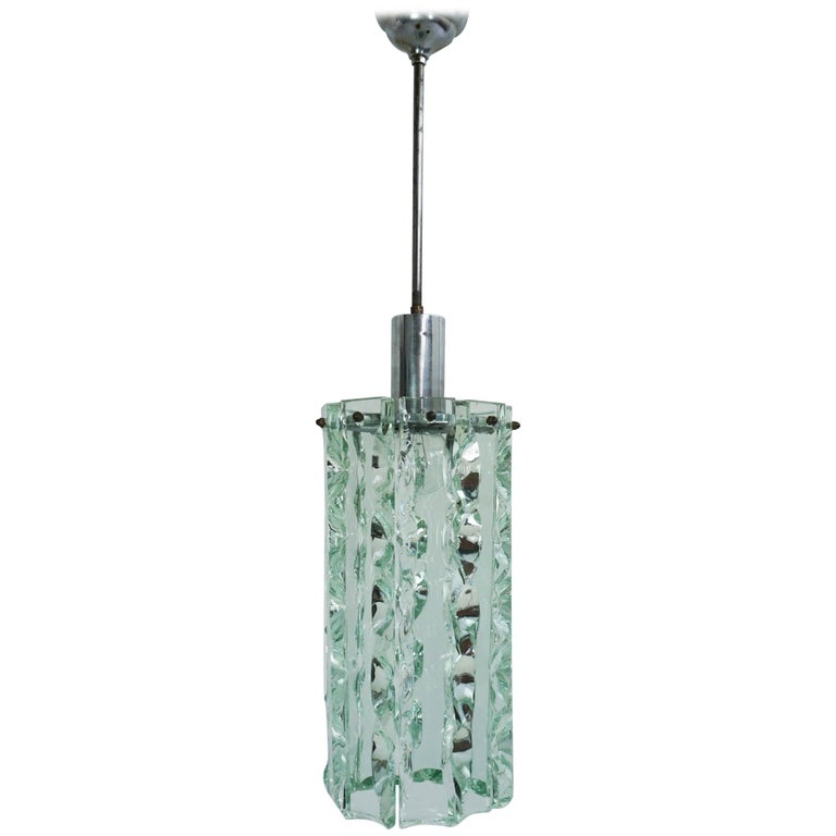 Fontana Arte Chiseled Glass Pendant Light