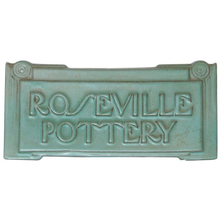 Art Deco Roseville Moderne Retailer's Advertising Ceramic Sign