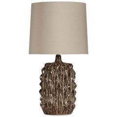 Modern Pineapple Shape Grey Glazed Ceramic Grey Silk Lampshade Table Lamp