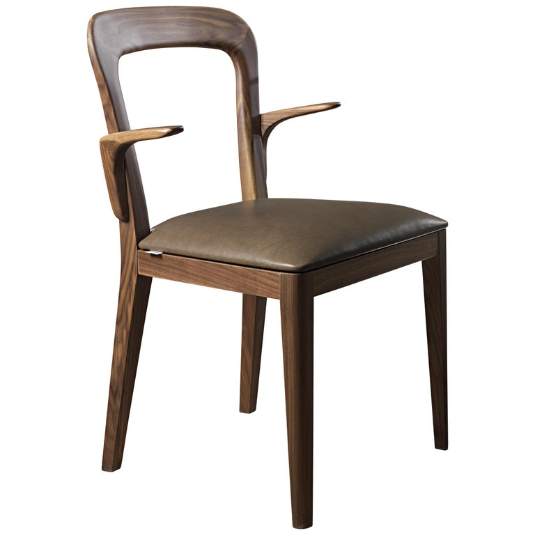Pacini & Cappellini Chair with Structure in Solid Canaletto Walnut