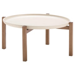 Pacini & Cappellini Gong Large Coffee Table in Light Ash Wood and Tray Top