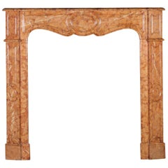 19th Century Fine French Pompadour Antique Fireplace Surround in Marble