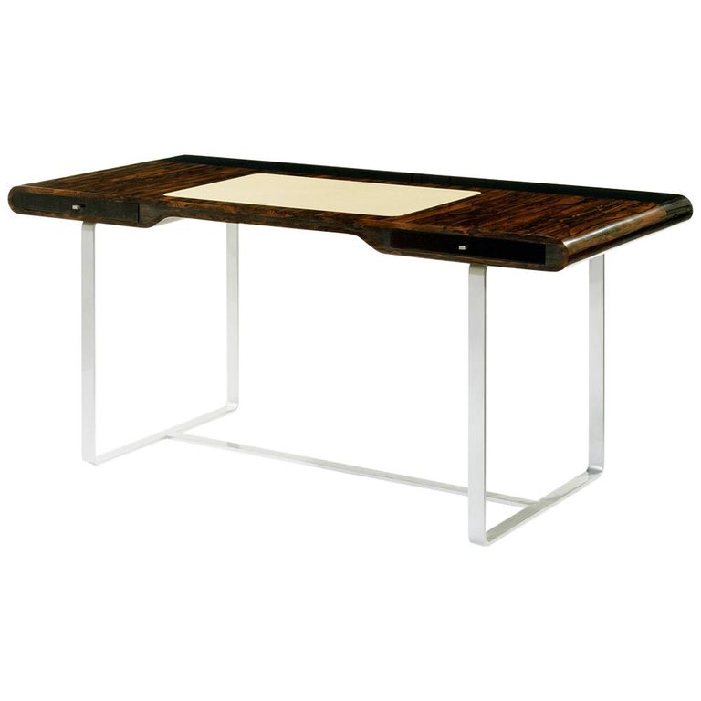 "Ziricotte Wood Desk ""Litle Shanghai"" with Leather Top and Silver Leg"