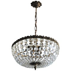 French Faceted Crystal Bronze Seven-Light Chandelier Flush Mount, Diameter 17""