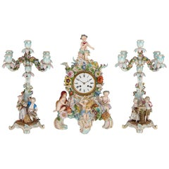 German Rococo Style Three-Piece Porcelain Clock Set by Meissen