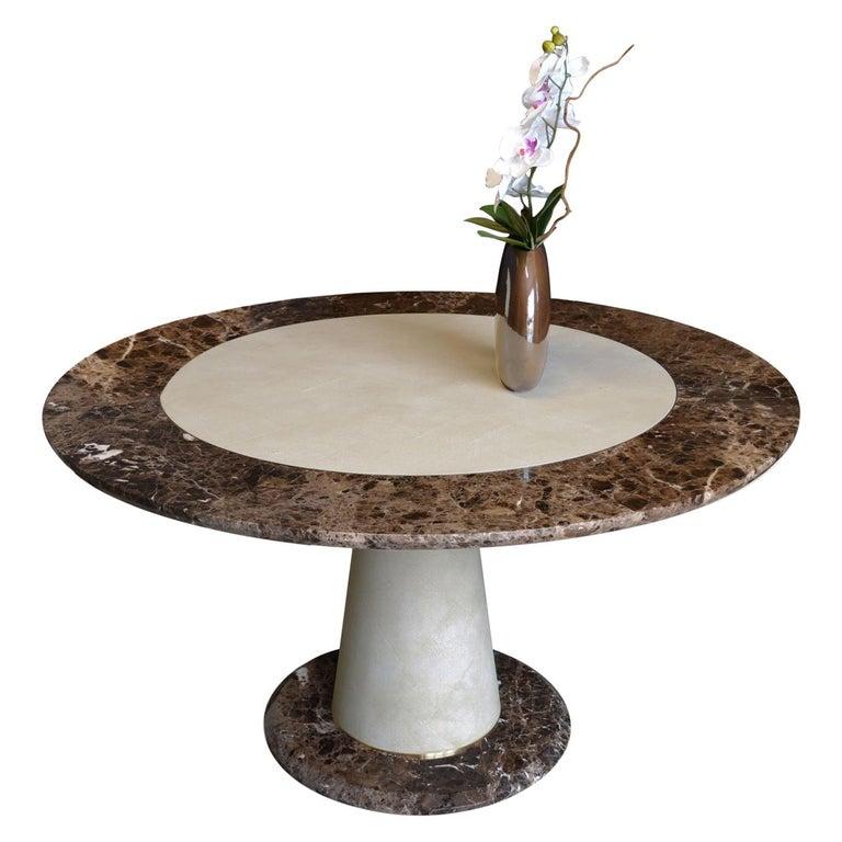 Aurelio Dining Table Brown Emperador Marble Scagliola Galuchat Decoration