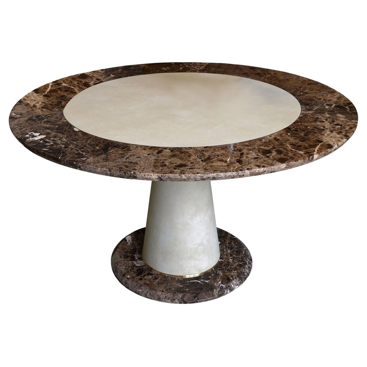 Modern Brown marble Round Dining Table  Scagliola Shagreen Decoration handmade