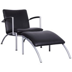 COR Pando Leather Armchair Black One-Seat with Foot-Stool