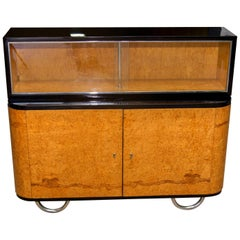 Bauhaus Display Cabinet, Bookcase, Sideboard on Chrome Base, Bohemia, 1930s