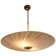 Brass and Multicolored Glass Italian Pendant Light /Chandelier 1950