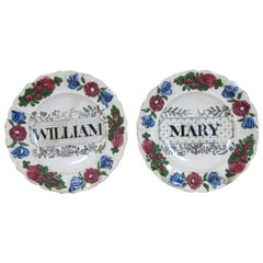 Pair of Rogers Pottery Named Christening Plates for William & Mary