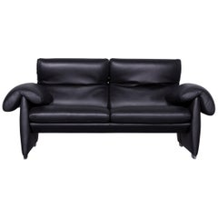 De Sede DS 10 Designer Sofa Black Leather Two-Seat Couch