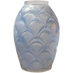 1932 Rene Lalique Herblay Vase in Double Cased Opalescent and Stained Glass