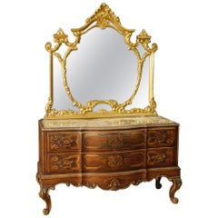 Italian Dresser with Mirror in Lacquered and Gilt Wood from 20th Century