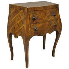 Italian Burl Olivewood Parquetry Inlay Bombe Small Commode Nightstand End Table