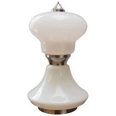 Midcentury Large Italian Milky Glass Table Lamp, 1960s