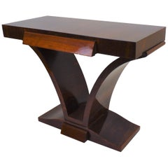 Dark Stained Art Deco Console-Table with Drawer