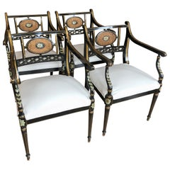 Superb Set of Four British Regency Black, Gold and Green Armchairs Club Chairs