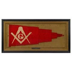 """George Washington"" Free Mason Hand-Cut and Sewn Pennant Flag, 1859-1865"
