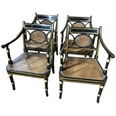 Outstanding Set of Four Fine George III Regency Caned Black and Gold Armchairs