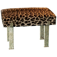 Jaguar Skin Stool, Forged Brass Structure, Italy, 2018