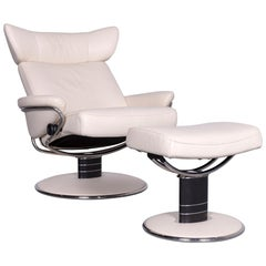 Ekornes Stressless Jazz Designer Leather Office Chair Crème with Stool