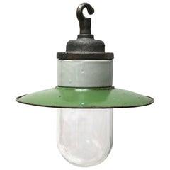 White Porcelain Industrial Cast Iron Green Enamel Clear Glass Hanging Light