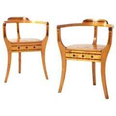 Pair of Handcrafted Pinewood Armchairs, Sweden, 1942