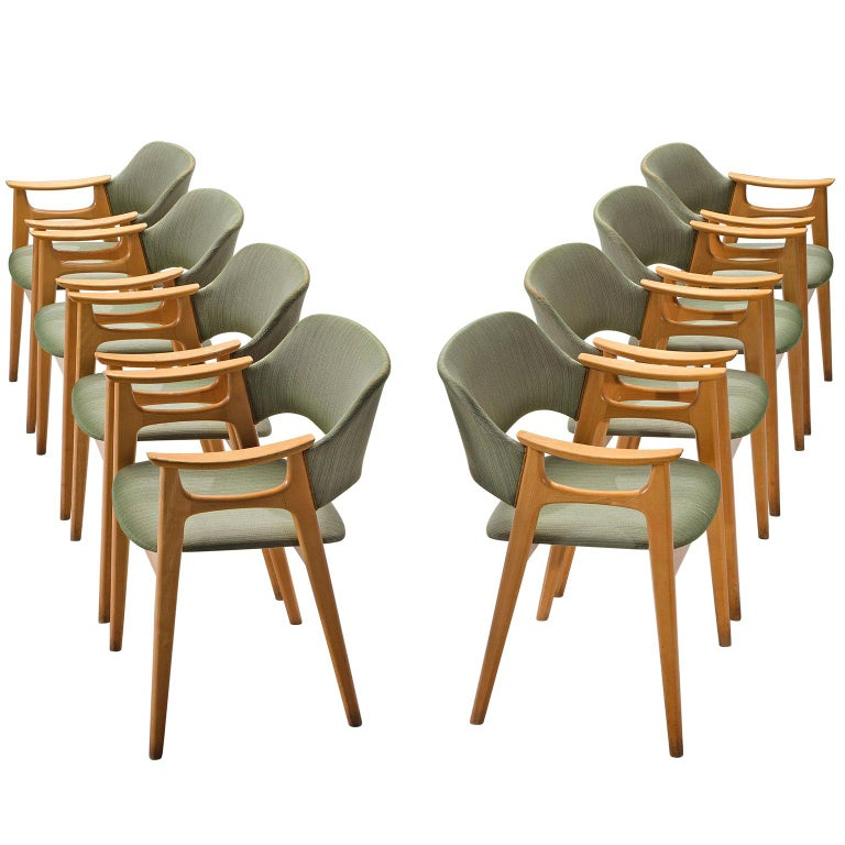 Set of Eight Norwegian Dining Chairs For Sale