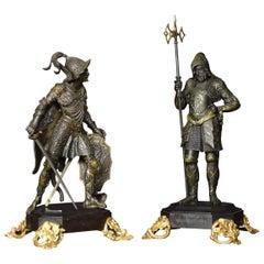 Pair of Bronzed Medieval Soldiers