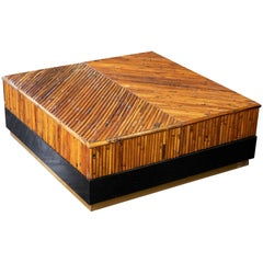 Ferdinando Loffredo Bamboo Black Formica and Brass Coffee Table, Italy, 1970