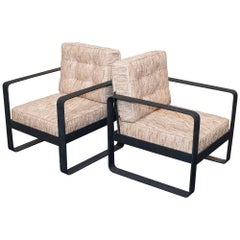 Pair of Dark Grey Forged Iron Armchairs, Chanel Woven Fabric, Italy, 2000
