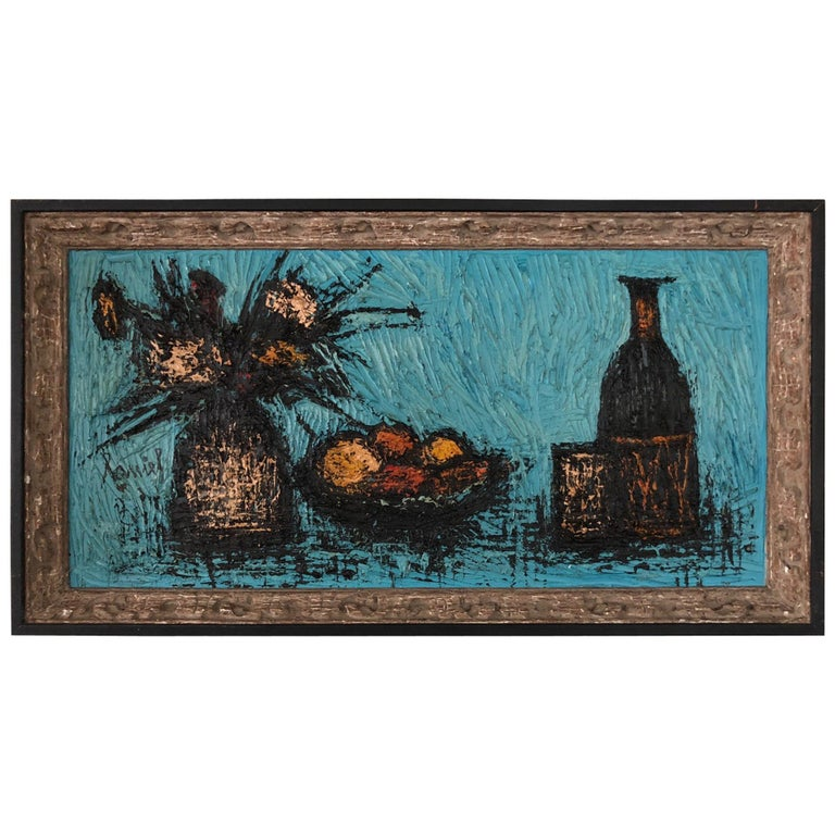 Charming Still Life Painting In The Style Of Bernard Buffet For Sale