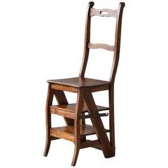 19th Century English Metamorphic Oak Library Chair, circa 1840