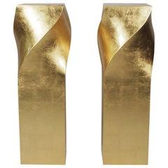 Pair of Monumental Mid-Century Modern Gold Gilt Pedestals