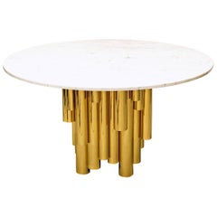 Contemporary Round Marble-Top Table with Brass Tubular Base