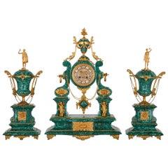 Neoclassical Style Ormolu and Malachite Clock Set