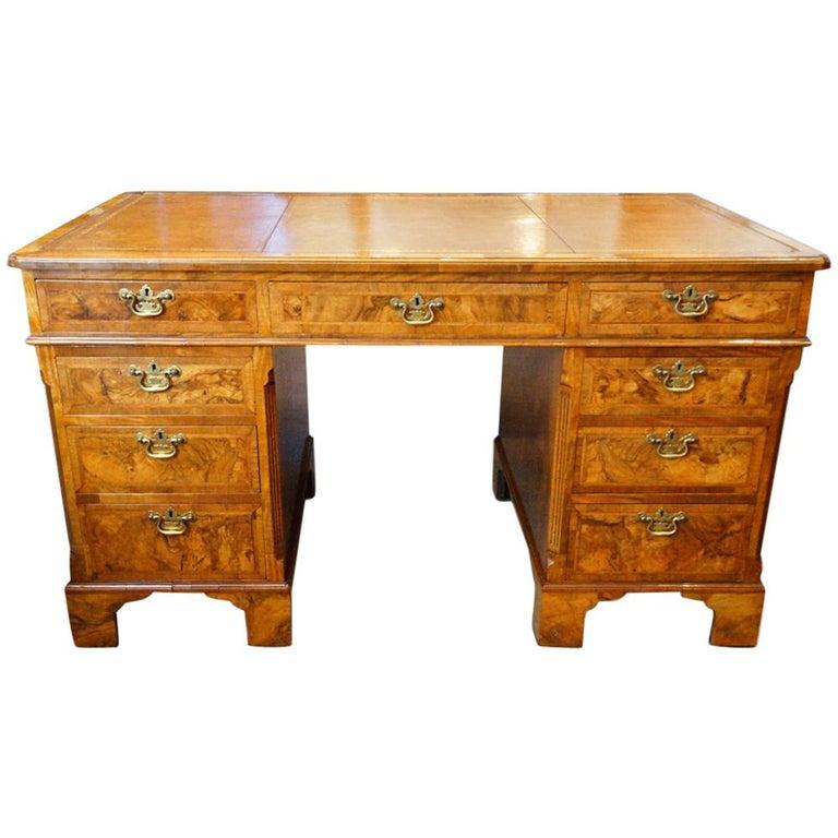 Georgian Style Walnut Pedestal Desk