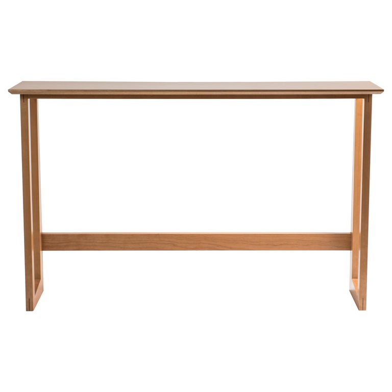 Tall Narrow Modern Cherry Westport Pub Table with Splined Miters and Trestle For Sale