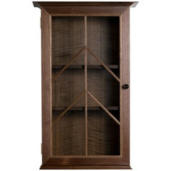 Contemporary North End Wall Cabinet in Walnut, Curly Oak with Barred Glass Door