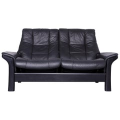 Stressless Buckingham Two-Seat Sofa Black Leather Couch with Function