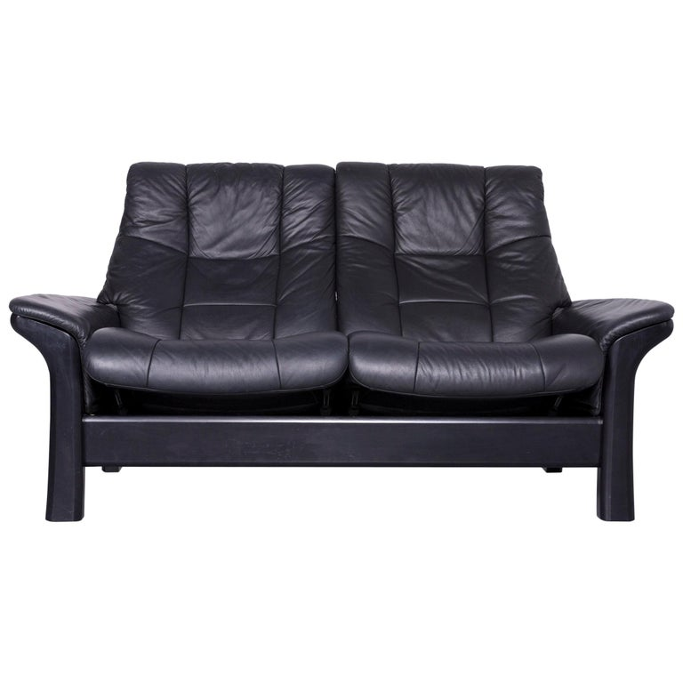 Stressless Buckingham Two Seat Sofa Black Leather Couch With Function For