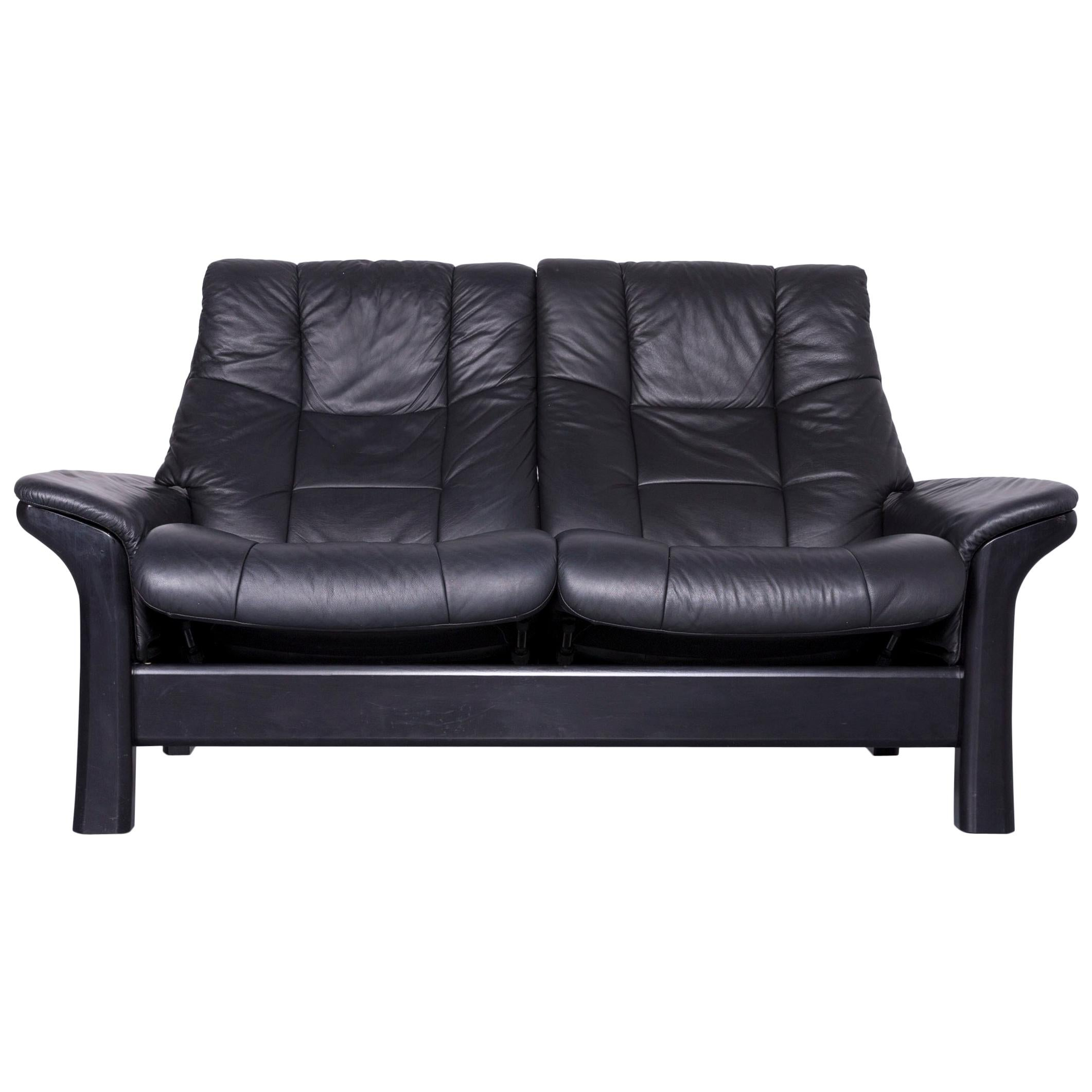 Stressless Buckingham Two Seat Sofa Black Leather Couch With Function For  Sale