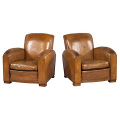 Pair of Original French Art Deco Cognac Leather Club Gentleman's Chairs