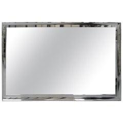 Large Chrome Framed Beveled Mirror