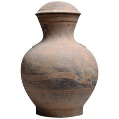 Large Ancient Chinese Han Dynasty Terracotta Hu Vase, 206 BC