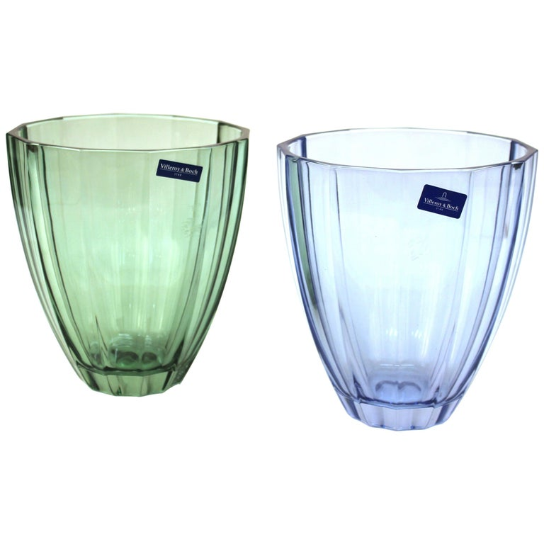 Villeroy And Boch Modern Style Glass Vases In Blue And Green For