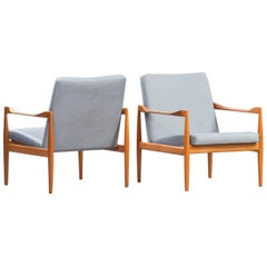 Kai Kristiansen Midcentury Teak Lounge Chairs for Fritz Hansen, Set of Two